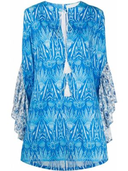 Синее платье с оборками с вырезом из вискозы Ava Adore
