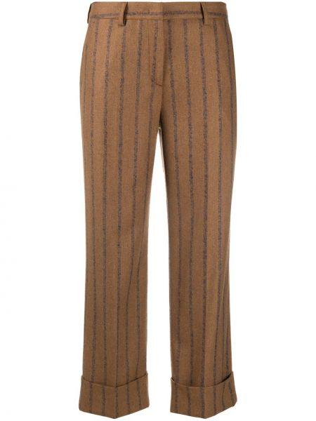 Прямые акриловые коричневые укороченные брюки с карманами Lardini