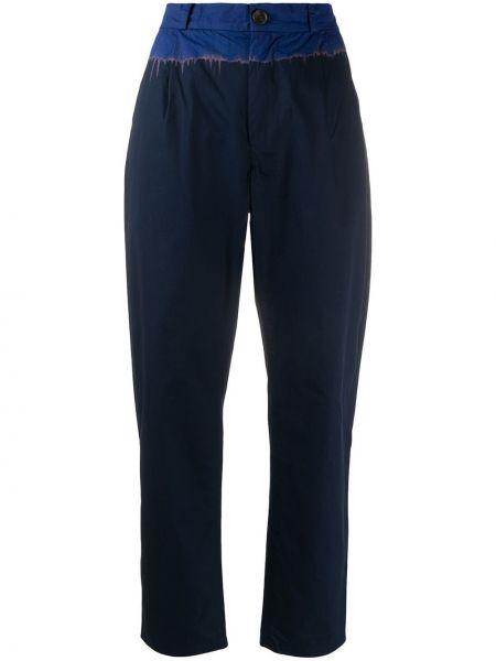 Синие прямые брюки с поясом со вставками Suzusan