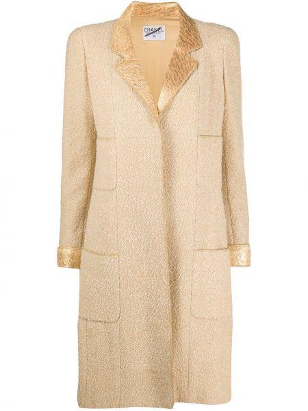 Желтое шерстяное пальто с капюшоном Chanel Pre-owned
