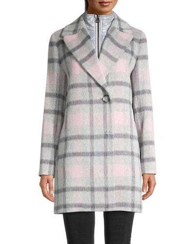 Шерстяное длинное пальто с воротником в клетку Cinzia Rocca