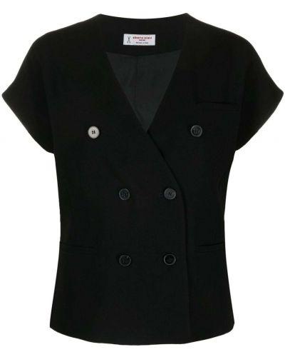 Черный пиджак двубортный с короткими рукавами Alberto Biani