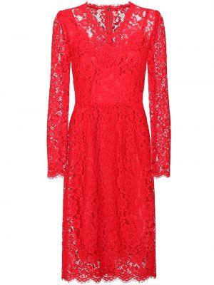 Шелковое красное платье макси с вырезом Dolce & Gabbana