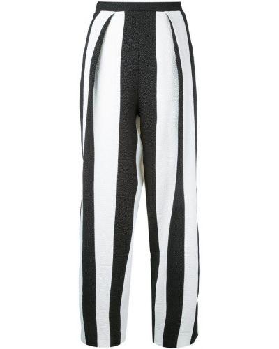 Укороченные брюки в полоску белые Edeline Lee