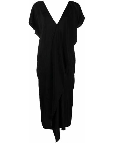 Черное платье миди с короткими рукавами в цветочный принт Uma Wang
