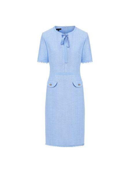 Синее приталенное шелковое платье с воротником Escada