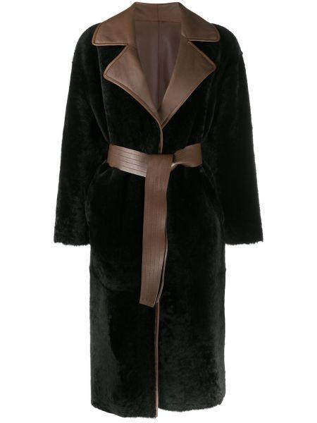 Коричневое кожаное пальто двустороннее Blancha