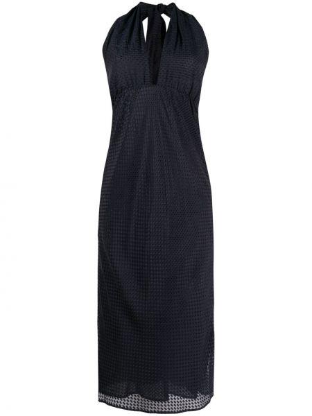 Шелковое черное платье миди без рукавов Roseanna