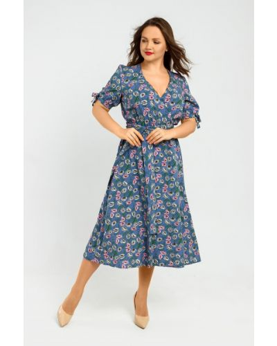 Повседневное платье миди с поясом с декольте Liza Fashion