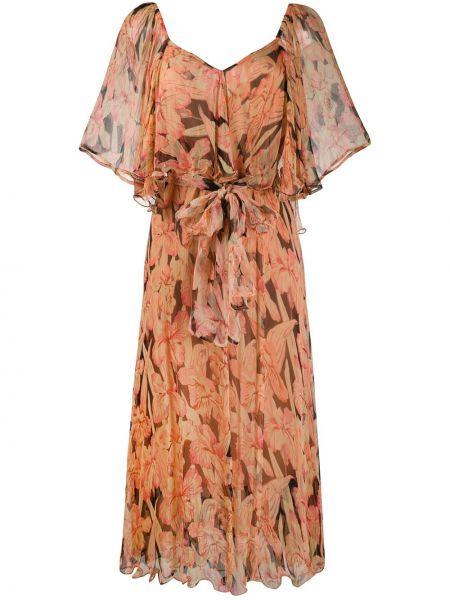 Платье миди с цветочным принтом с V-образным вырезом Mes Demoiselles