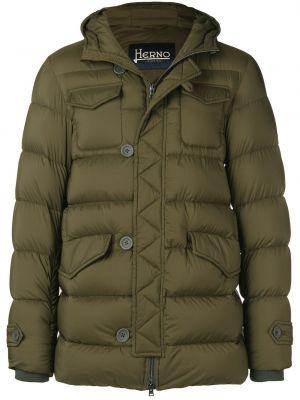 Puchaty zielony krótki płaszcz z kapturem wojskowy Herno
