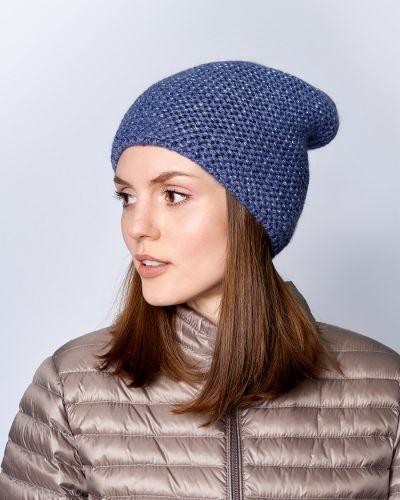 Акриловая синяя шапка бини с подкладкой Baon