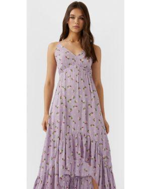 Платье миди из вискозы с оборками Stradivarius