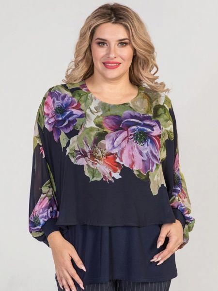 Блузка с длинным рукавом синяя весенний Luxury Plus
