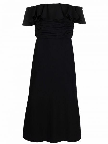 Шелковое платье миди - черное Giambattista Valli