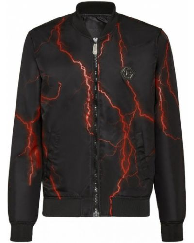 Czarna długa kurtka z długimi rękawami z printem Philipp Plein