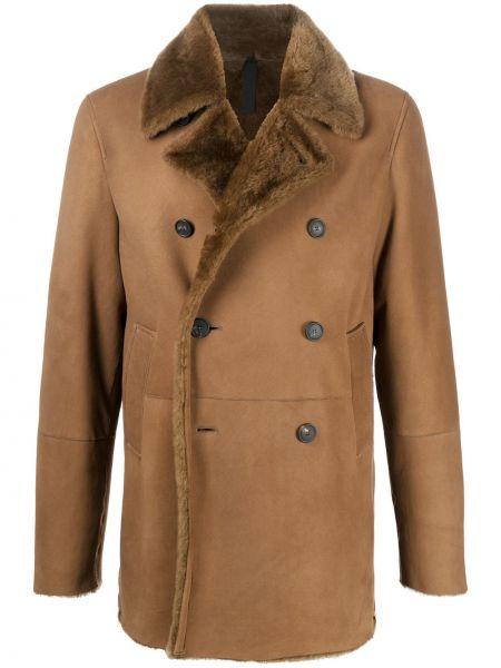 Brązowy skórzany długi płaszcz z kieszeniami z klapami Tagliatore