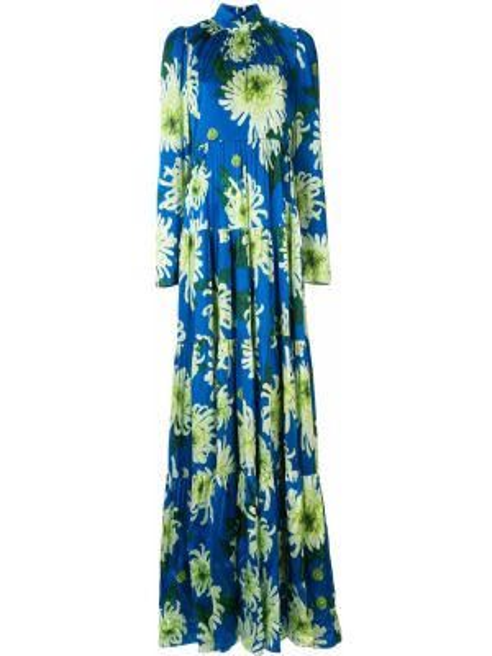 Расклешенное платье макси с длинными рукавами с вырезом на молнии Andrew Gn