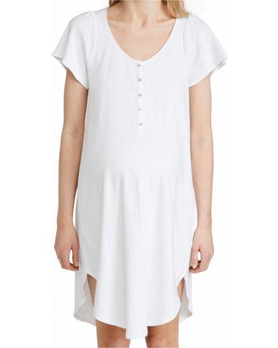 Biała koszula nocna bawełniana krótki rękaw Hatch
