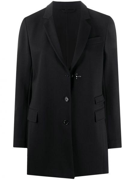 Однобортный черный удлиненный пиджак с карманами Fay