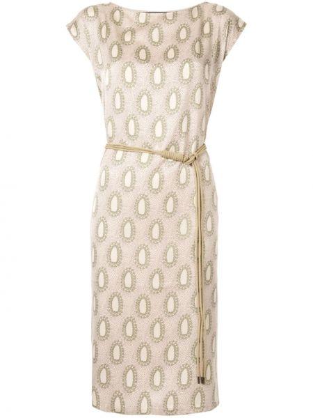 Хлопковое прямое платье мини с вырезом круглое Muller Of Yoshiokubo