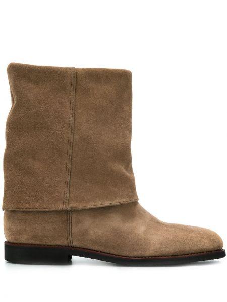 Коричневые ботинки на каблуке на каблуке круглые с подкладкой Holland & Holland