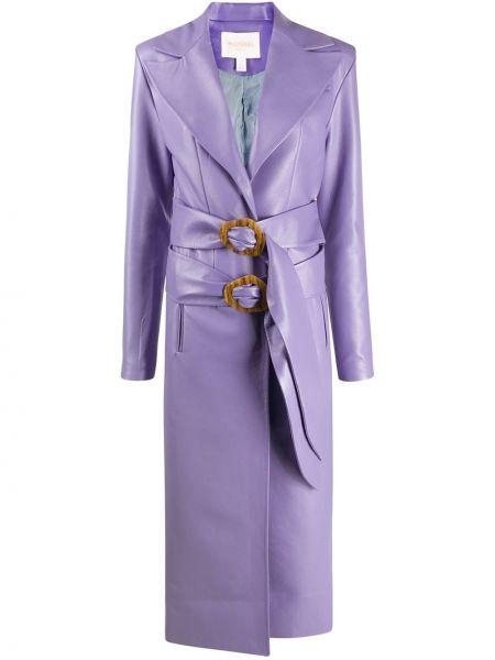 Кожаное длинное пальто с капюшоном свободного кроя Matériel