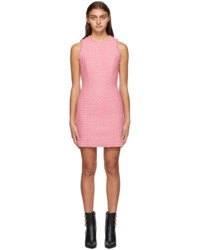 Шерстяное розовое платье без рукавов Balmain