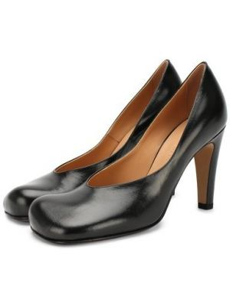 Туфли на каблуке черные кожаные Bottega Veneta