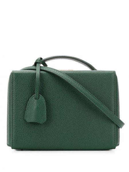 Кожаная золотистая зеленая сумка-тоут Mark Cross