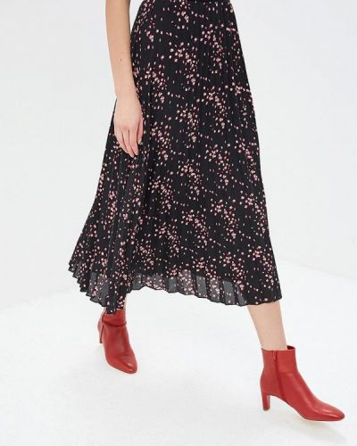 Плиссированная юбка весенняя черная Modis