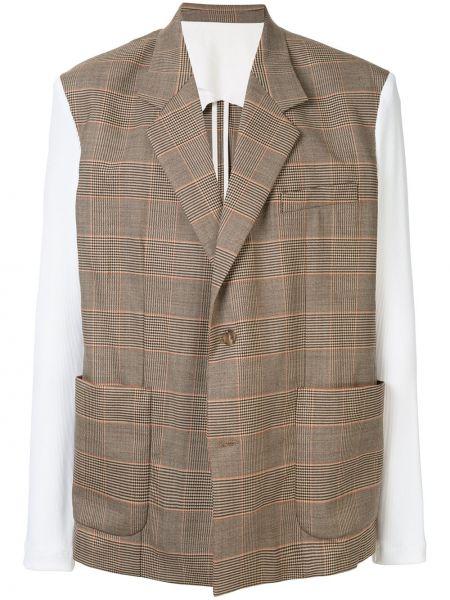 Шерстяной коричневый прямой классический пиджак с карманами Botter