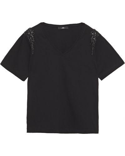 Трикотажная черная футболка с бисером 7 For All Mankind