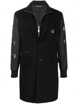 Czarny wełniany długi płaszcz z kieszeniami z łatami Philipp Plein