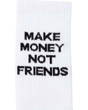 Prążkowane białe skarpety bawełniane Make Money Not Friends