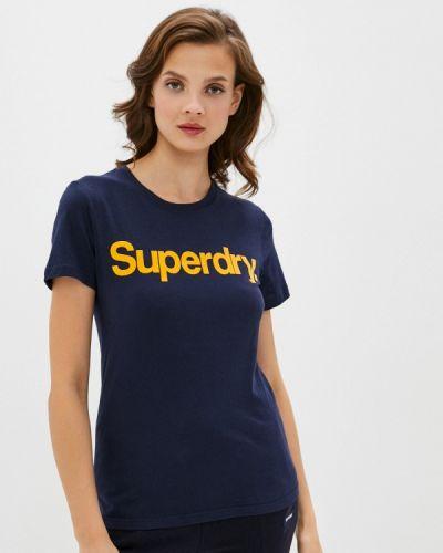 Синяя с рукавами футболка Superdry