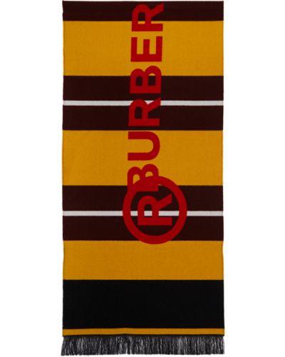 Żółty szalik wełniany w paski Burberry