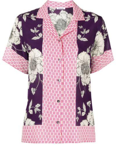 Фиолетовая шелковая рубашка с короткими рукавами P.a.r.o.s.h.