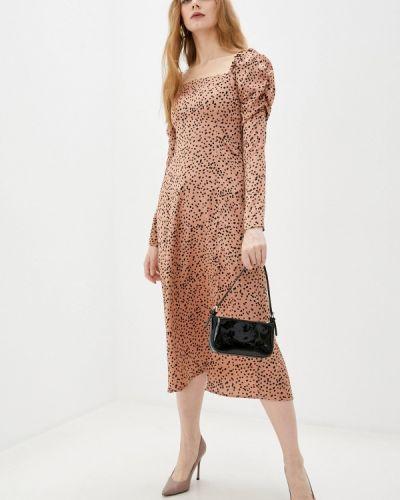 Коричневое платье с открытыми плечами Imocean