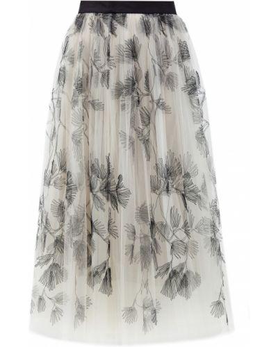 Деловая пышная юбка макси с вышивкой с поясом Brunello Cucinelli