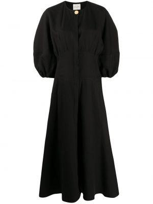 Черное расклешенное платье с вырезом круглое Le Kasha