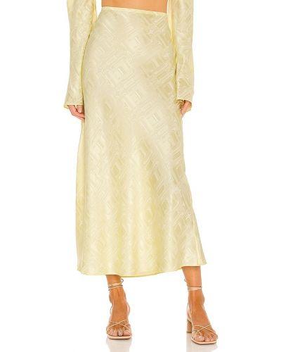 Рваная шелковая желтая юбка Ronny Kobo