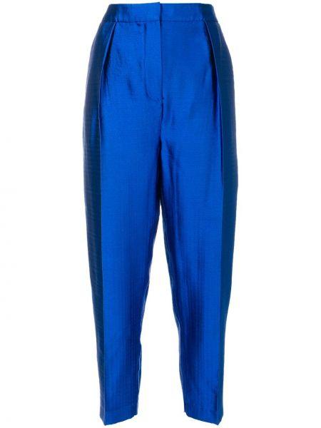 Niebieskie spodnie z wysokim stanem bawełniane Roksanda