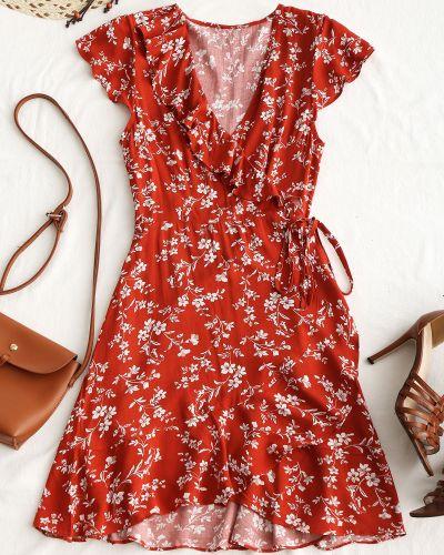 Платье мини с запахом с цветочным принтом Zaful