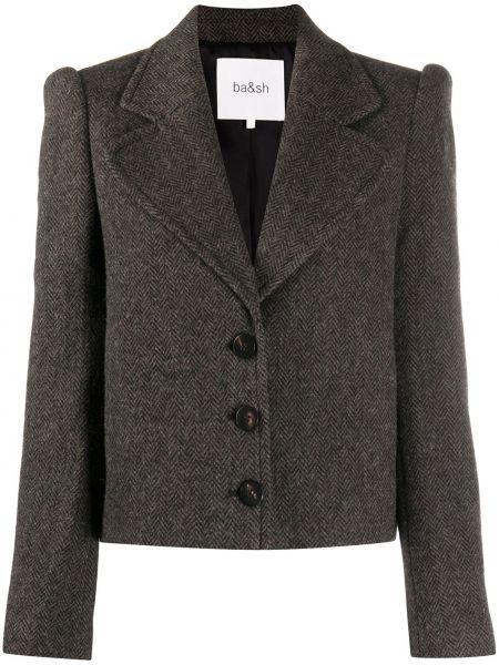 Шерстяная приталенная коричневая длинная куртка с отворотом Ba&sh