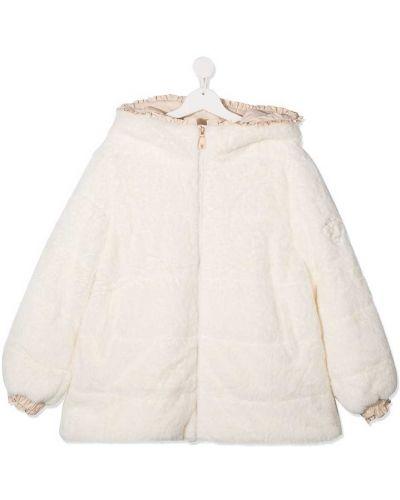 С рукавами пальто классическое с капюшоном с вышивкой Monnalisa