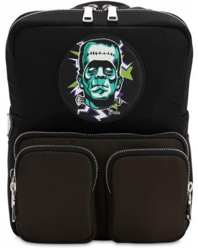 Czarny plecak z nylonu z printem Prada