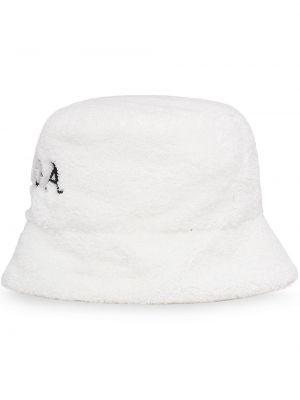 Biała bucket hat bawełniana z haftem Prada