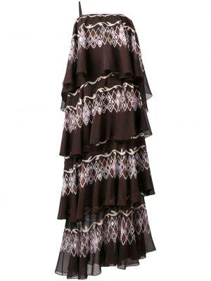 Асимметричное коричневое шелковое платье макси Fendi