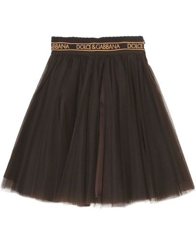 Юбка из фатина - коричневая Dolce & Gabbana Kids